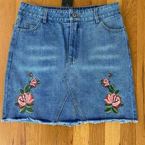 Denim Skirt w/Floral Embroidery NWT